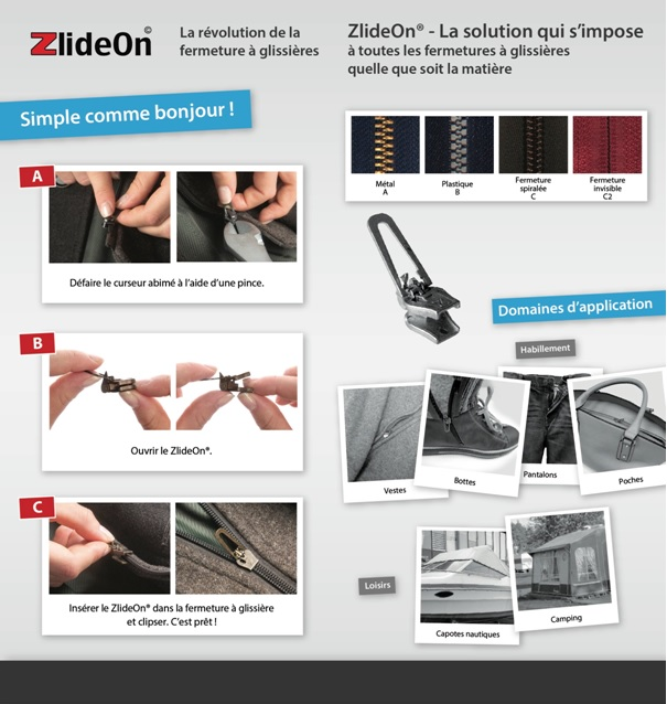 Reparer une fermeture éclair avec le curseur ZlideOn